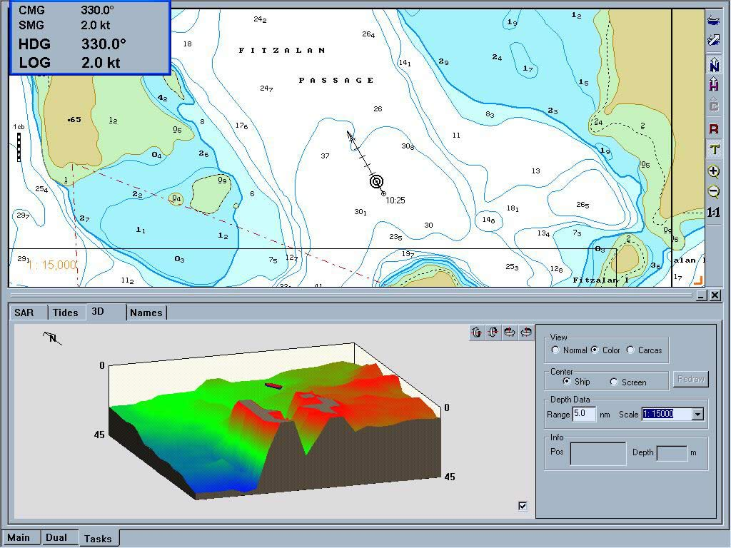 3D Chart Imaging - Three dimensional view of sea floor